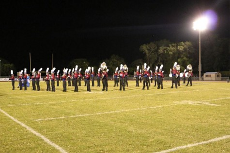 The band stands ready to perform their show after this year's homecoming game.