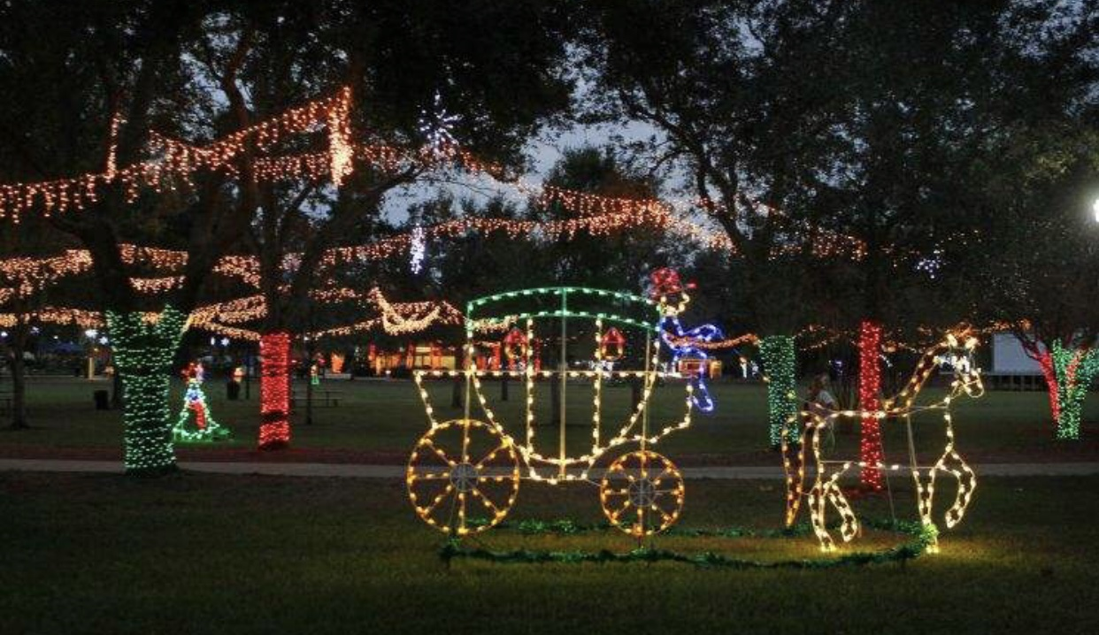 Largo Central Park features many light fixtures to create the holiday spirit.
