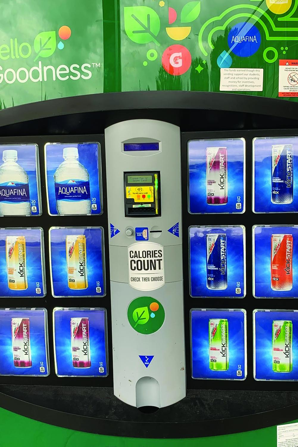Vending machines, like the one featured in this image, can be found around school and offer some caffeinated beverages.