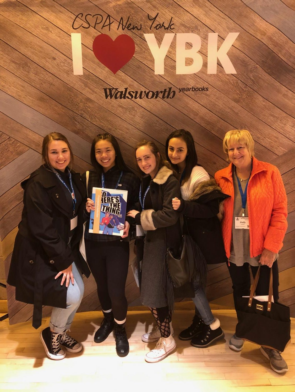 Chloe Ballestero, Anna Tam ('19), Natalie Tajeddine (and Hannah Pinnell ('20) along with Mrs. Judy Cannaday receive their Crown Award