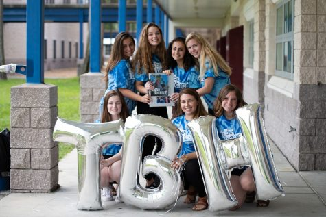 Showing off the special 'TBH' balloons. Rachel Giaquinto, Hannah Pinnell, Ansley Acree, Mackenzie Mills, Natalie Tajeddine, Lily Fragola ('20), and Sophia Sesi ('19) celebrate the end of the 2019 book on the annual distribution day.