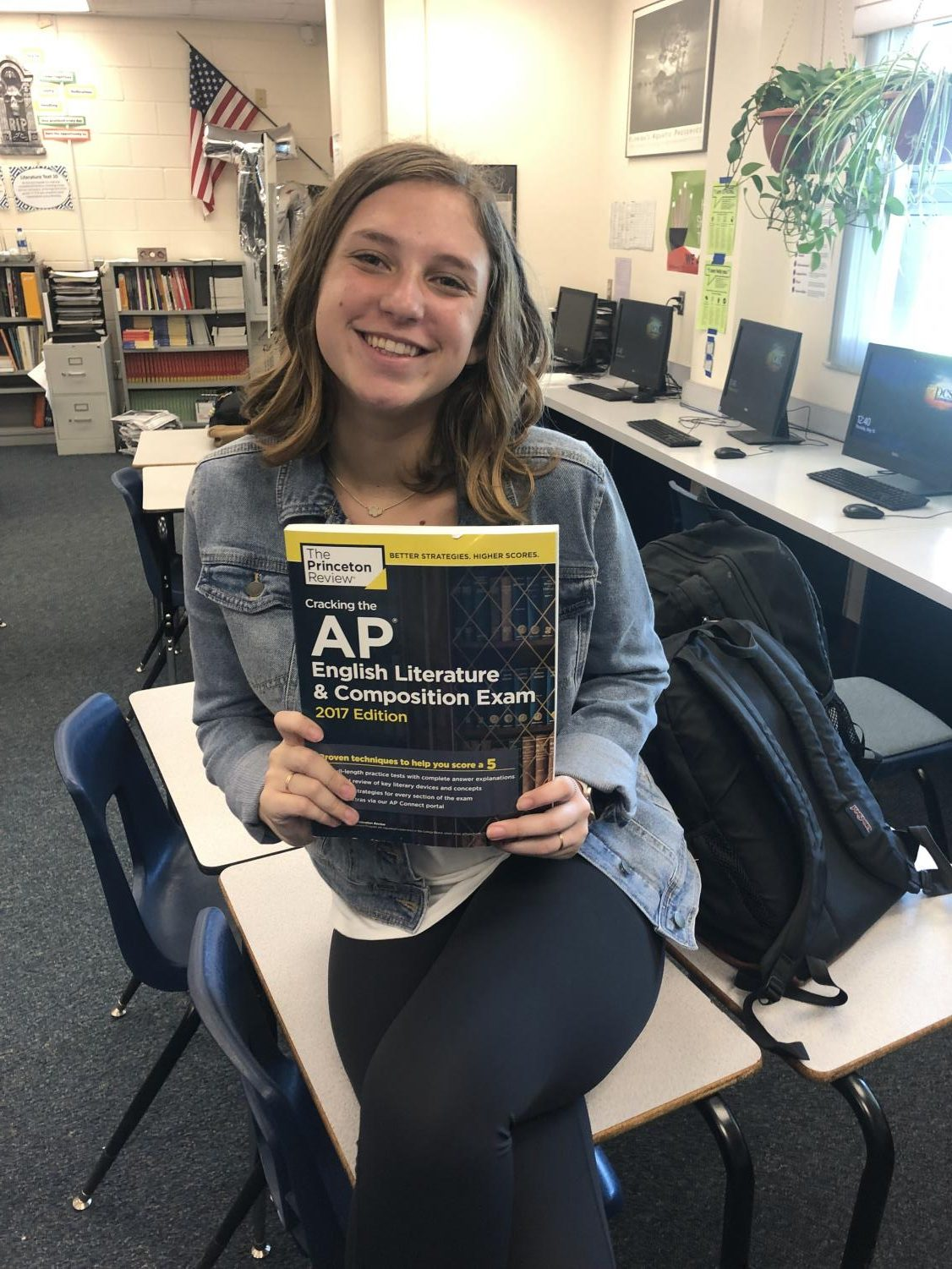 In Mrs.Cannaday's class, Ansley Acree ('20) prepares for her AP exam that she will have to take before exam week.