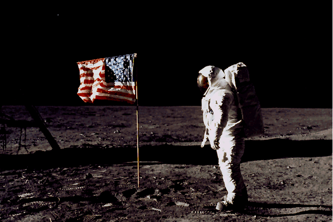 Neil+Armstrong+setting+up+the+American+flag+on+the+moon.