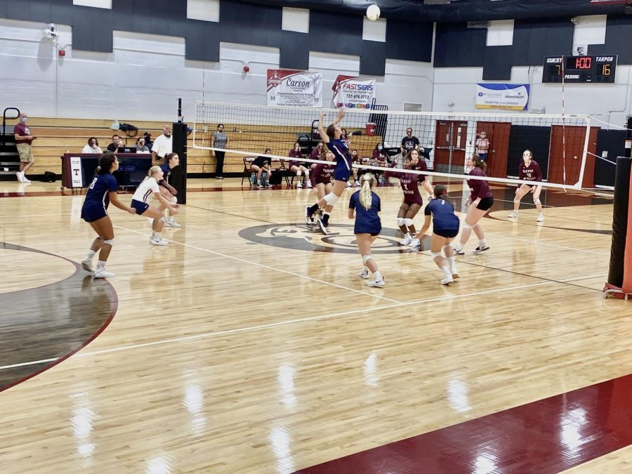Varsity+volleyball+players+during+their+game+against+Tarpon.+