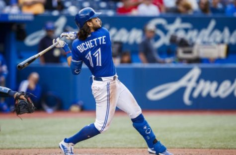 Shortstop for the Toronto Blue Jays, Bo Bichette, takes a hack at a pitch. (Courtesy of tipofthetower.com)